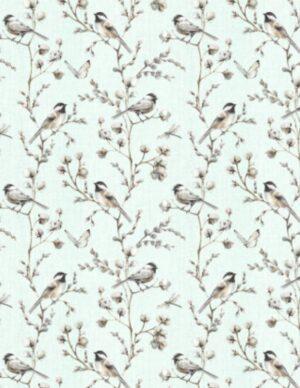 A Country Weekend - Birds & Butterflies Pale Seaglass Fabric