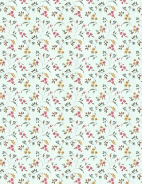 A Country Weekend - Floral Vines Pale Seaglass Fabric