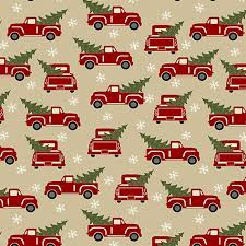 Jingle Bell - Red Truck Holiday - Beige Fabric