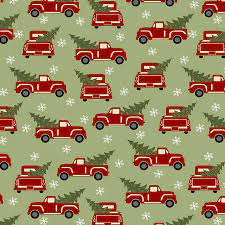 Jingle Bell - Red Truck Holiday - Green Fabric