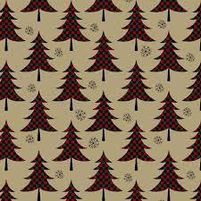 Jingle Bell - Plaid Trees - Red/Tan Fabric