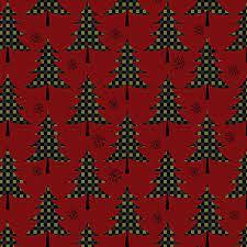 Jingle Bell - Plaid Christmas Trees - Berry Fabric