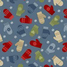 Jingle Bell - Merry Mittens - Med. Blue Fabric