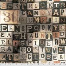 Halloween - Multicolored Letters Fabric