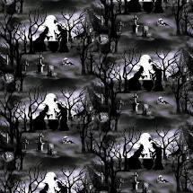 Hocus Pocus - Witches with Cauldrons Scene Fabric - Glow in the Dark