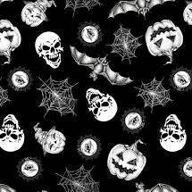 Hocus Pocus - Tossed Halloween Motifs Fabric - Glow in the Dark