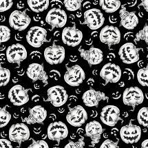 Hocus Pocus - Tossed Pumpkins Fabric - Glow in the Dark