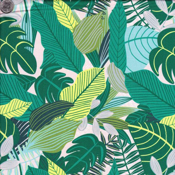 Large Leaves - Green fabric