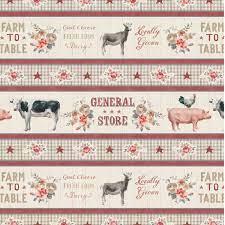Farmhouse Chic - Border Stripe Quilt Fabric