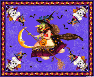 Witchful Thinking Panel Fabric Witch Halloween