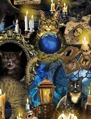 Mystical Spooky Black Cats Fabric