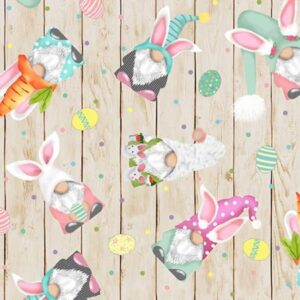 Pastel Hopping Gnomes - Minky Easter Fabric