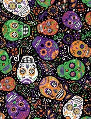 Day of the Dead - Mardi Gras Skulls Fabric
