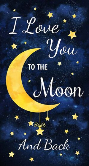 I Love You to the Moon - Panel Fabric