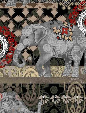 Caravan Elephant - Black Fabric