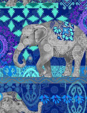 Caravan Elephant - Blue Fabric