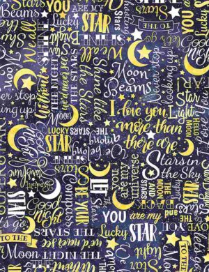 Stars Text Moon Fabric