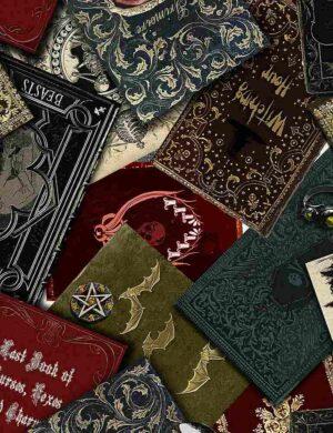 Spooky Spell Books Fabric