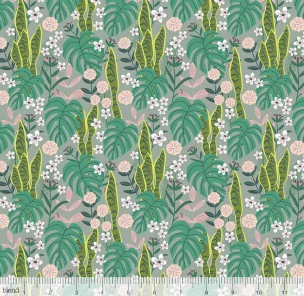 Junglemania - Leaves and Flowers - Green Fabric