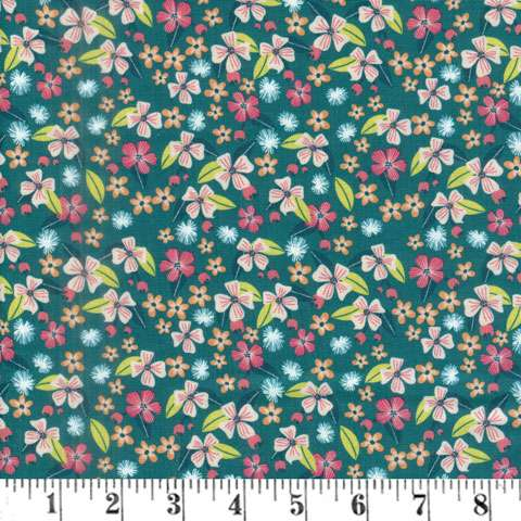 Junglemania - Flowers on Teal fabric