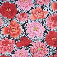 Brocade Peony - Crimson Fabric