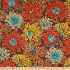 Cactus Flower - Brown Fabric