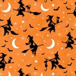 Hocus Pocus - Bewitched Orange/Black Halloween Fabric