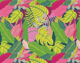 Large Leaves - Pink Fabric