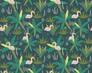 Junglemania - Flamingos - Green Fabric