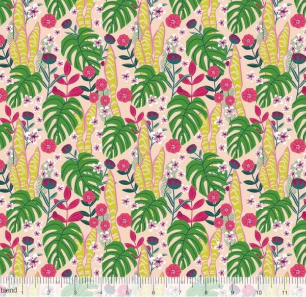 Junglemania - Leaves and Flowers - Pink Fabric