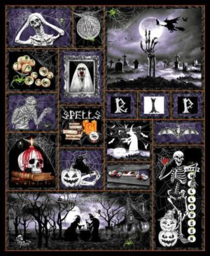Hocus Pocus - Halloween Panel Fabric - Glow in the Dark