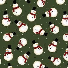 Jingle Bell - Crossroads Snowman - Green Snowman Fabric