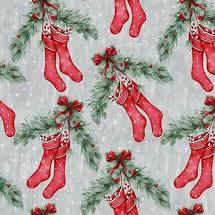 Joyful Tidings - Christmas Stockings - Lt Grey Fabric