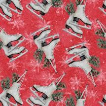 Joyful Tidings - Ice Skates - Red Fabric