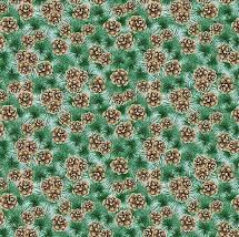 Joyful Tidings - Pine Cones - Green Fabric