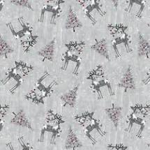 Joyful Tidings - Tossed Reindeer with Christmas Trees - Light Grey Fabric