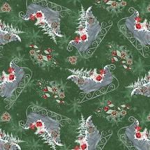Joyful Tidings - Christmas Sleighs - Green Fabric