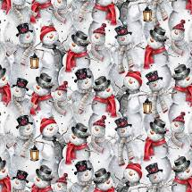 Joyful Tidings - Snowman Collage - Grey Fabric