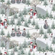 Joyful Tidings - Scenic Snowman - White Fabric