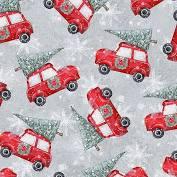 Joyful Tidings - Cars with Christmas Trees - Light Grey Fabric