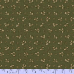 Country Meadow - Olive with Tan Flowers Fabric