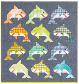 Colorful Shark Quilt Fabric
