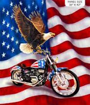 liberty ride bald eagle and motorcycle fabric panel